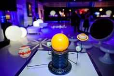 Solar-System-Theme Decor: At the LG Innovators' Ball in Toronto in 2012, motorized solar systems served as centerpieces for the high-top cocktail tables.