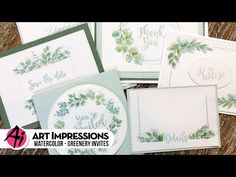 NEW VIDEO! Watch as Bonnie stamps and watercolors another great invitation set! Our Greenery Invites are a simple yet stunning way to create your own special. Watercolor Brushes, Watercolour Tutorials, Watercolor Paper, Floral Invitation, Invitation Set, Invites, Art Impressions Stamps, Pen Sets, Special Events