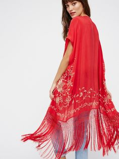 Ophelia Embroidered Fringe Kimono | Gorgeous sheer kimono featuring an embroidered design with effortlessly flowing fringe along the trim.