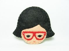 Nerdy girl felt brooch