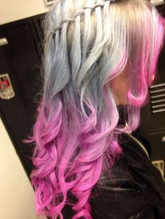 Silver to pink hair, long with a braid. <3 Unnatural Hair Color, Vivid Hair Color, Hair Colors, Pony Hairstyles, Trendy Hairstyles, Pink Blonde Hair, White Blonde, Hair Addiction, Hair Heaven