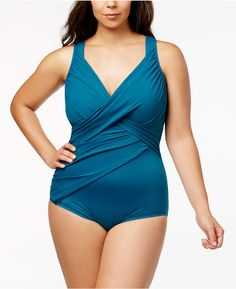 Miraclesuit Plus Size Revele Underwire Tummy Control One-Piece Swimsuit - Blue Plus Size Tankini, Plus Size Swimsuits, Women Swimsuits, Plus Swim, One Piece Swimsuit, Clothes For Women, Chic, Shopping, Razzle Dazzle