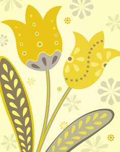 Yellow and Gray Tulips Art Print