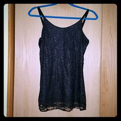 Shimmery black lace tank top Barely worn black lace tank top from Maurices. Lace layer is slightly shimmery, but not overwhelmingly so. Pretty and comfy! Maurices Tops Tank Tops