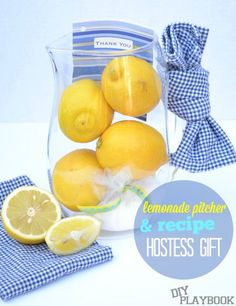 Heading to a Summer BBQ? Here's a great DIY gift idea to bring along. Just buy a nice pitcher, some hand towels, and the ingredients for fresh lemonade!