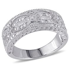 Diamond Accent Vintage-Style Infinity Band in Sterling Silver  - Peoples Jewellers