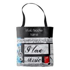 Funky Music Teacher Tote Personalized Tote Bag