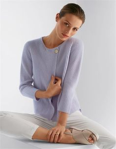 Cardigan, pure cashmere in Lilac.