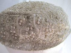 Antique hat 1920s silver thread spangles by vintageboxofdelights, $50.00