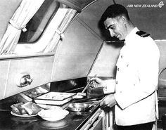 Preparing food in the galley of a Solent Flying Boat Aircraft Interiors, Air New Zealand, Flying Boat, Commercial Aircraft, Cabin Crew, Air Travel, Vintage Travel Posters, Travel Style, Diorama Ideas