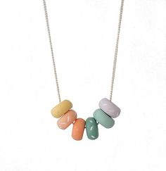 Multi Colored Small Beaded Necklace for women, handmade colourful jewellery by Lottie of London