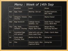 A home weekly menu so that you eat balanced meals