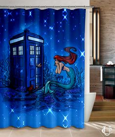 Doctor Who Meets Disney Tardis Ariel Shower Curtain cheap and best quality. *100% money back guarantee