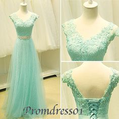 #promdress01 prom dresses - 2015 elegant V-neck low back short sleeves beaded ice green lace chiffon modest long prom dress for teens, ball gown, evening dress, homecoming dress, grad dress, custom made plus size dresses #promdress #wedding