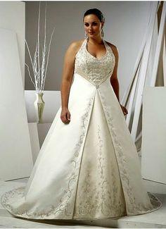A Line Halter Empire Waist Long Satin Ivory Plus Size Wedding Dresses