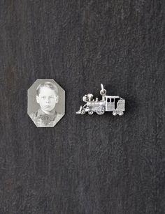 Vintage Sterling Silver Train Charm - detailed steam engine steampunk pendant