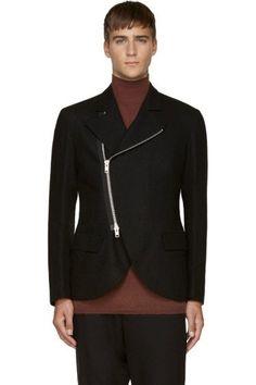 Black Wool Zip-Up Blazer  :  Yohji Yamamoto