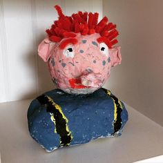 """#kivanta #sams #paulmaar #pappmache #papiermache #wunschpunkte #crafts #craftsforkids #stickycrafts  Years ago when our oldest was about 4 he was a huge fan of """"Das Sams"""". All of our kids love the books and listen to the cds quite often.  Our oldest had all those stories memorized - word for word. When he was very sick at one time  i read him ONE book each day. He was mesmerized! When he was feeling better we made a papier-mache Sams and one by one we added Herr Taschenbier and Frau Rotkohl…"""