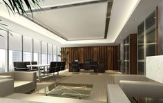 General manager office interior design rendering with French window