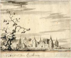 Geromantiseerde voorstelling van het kasteel van Eindhoven naar de prent van Baudartius, toegeschreven aan Jacob Stellingwerf 1740