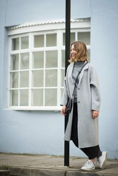 Oversized grey wool coat, Adidas Stan Smith, Leather trousers http://brightonstylememos.blogspot.co.uk/