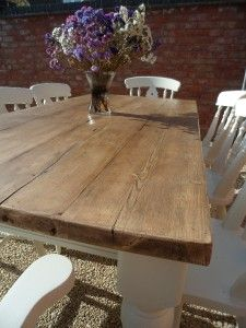 Reclaimed 6ft Large Rustic Old Farmhouse Style Shabby Chic Pine TableSHABBY CHIC pine kitchen table and 4 chairs   bench seat Annie  . Shabby Chic Dining Room Table Ebay. Home Design Ideas