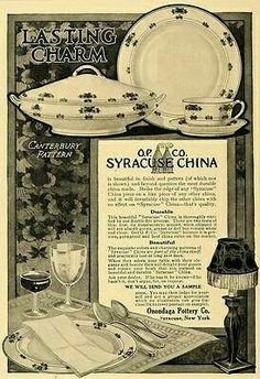 Syracuse China, Irish Roots, Vintage Dinnerware, China Plates, China Patterns, Canterbury, Serving Dishes, Historical Photos, Vintage Kitchen