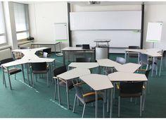 PENTA-Tische von Mayr Schulmöbel an allen Points of Education Ad Design, Modern, Conference Room, Table, Ads, Furniture, Home Decor, Lounge Furniture, Partition Screen