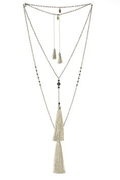 "Tassel necklace hand made in Bali, made of glass crystals and lava stones. Set of 2 necklaces. Length may vary : Approximately 42"" for long necklace & 36"" for short necklace."