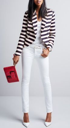 Stripes & a pop of red @Nordstrom