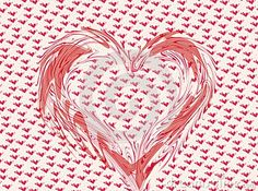 Distorted pink and white heart on a heart background