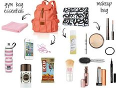 gym bag and post workout beauty essentials