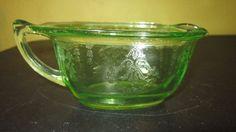 RARE  Vintage Uranium Vaseline Glass Oval Creamer Floral Design | Pottery & Glass, Glass, Glassware | eBay!