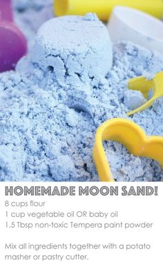 Toddler-Safe {Coloured} Cloud Dough toddler-safe cloud dough - Easy to make, an amazing sensory experience, and a non-toxic, taste-safe recipe! Sensory Activities, Craft Activities For Kids, Infant Activities, Projects For Kids, Preschool Activities, Crafts For Kids, Moon Projects, Summer Activities, Family Activities