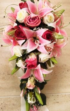 WEDDING BOUQUET, REAL TOUCH LILLIES, PINK ROSES, PEARLS
