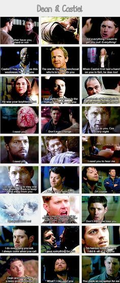 (gif set) Dean and Castiel; they're relationship might not be romantic but there is tremendous love and caring and need, wether it's platonic or romantic doesn't matter, what matters is their bond