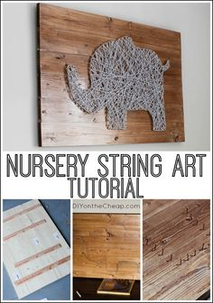 Nursery string art tutorial! This technique can be adapted to create any type of string art. Art Du Fil, Farm Themed Nursery, Safari Nursery, Nursery Wall Art, Diy Wall Art, Diy Art, Ikea Nursery, Diy Home Decor, Cheap Diy Nursery Decor