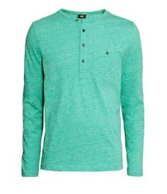 Soft cotton jersey henley-style T-shirt in a statement green.  | H&M For Men