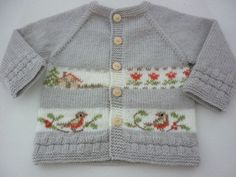"""This listing is for the PDF of the knitting pattern . Baby cardigan with embroidery.This cardigan has top-down raglan construction and is worked in one piece.Hand embroidery..Knitting is soft and pleasant to the touch.  Difficulty level:Intermediate  FINISHED MEASUREMENTS length - 31cm / 11,8"""" Chest -54 cm/20,5  To fit a baby aged 6-12 months. GAUGE 25 sts and 36 rows = 10x10 cm/4x4""""  Materials: Main color :Colour A - grey 1 x 100gram ball Colour B - white 20g 75% аcrylic,..."""