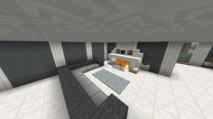 Minecraft fireplace - Used grey glass panes for barrier around fire. Plant used; fern.
