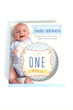 """Capture your baby's growth with milestone stickers.  Stickers include months 1 through 12 plus 8 milestone stickers such as """"Today I Rolled Over"""" and """"I Can Stand""""!  Perfect gift to give a brand new nephew.                            Boy Belly Stickers by C R Gibson. Home & Gifts - Gifts - Gifts by Occasion - Baby & Kids Pennsylvania"""