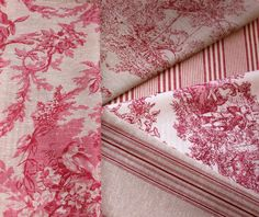 5 RASPBERRY TOILE DE JOUY, TICKING STRIPE FRENCH LINEN FABRIC REMNANTS BUNDLE                                                                                                                                                                                 More