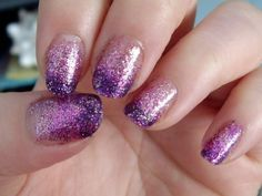 Lavender Glitter Nails with Dark Purple Tips