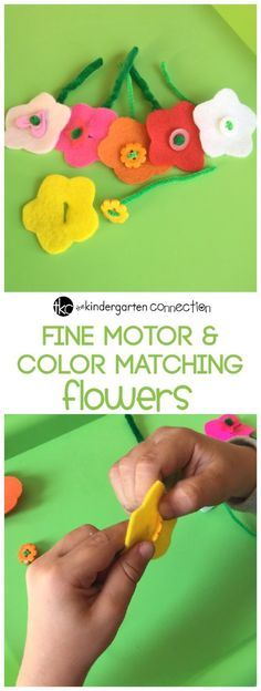 fine motor flowers with buttons