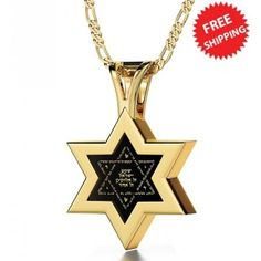 "These inspiring necklaces for men and women featuring the 'Shema"" in Hebrew from Deuteronomy inscribed exclusively in pure gold on natural onyx and framed in yellow gold Star of David frame. Gold Line, Christian Jewelry, Star Of David, Gold Stars, Men Necklace, 14 Karat Gold, Gold Bands, Jewelry Gifts, Necklaces"