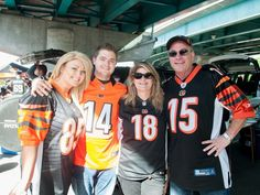 Bengals-Chiefs tailgating. Photo: Lindsay Goeke, Jason Gillum, Kelly and Chuck Wagner tailgate before Sunday's game between the Bengals and Kansas City.  Rebecca A. Butts for The Enquirer