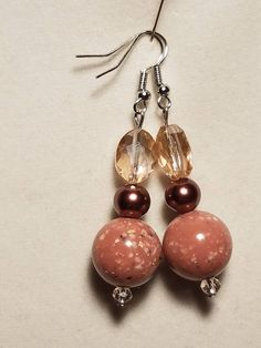 Round Pink Ceramic Beaded Earrings with Brown Pearls and Pink Crystals
