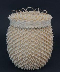 Ash and sweetgrass basket with points by Frances (Gal) Frey, Passamaquoddy
