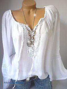 Italy Vintage Häkel Spitze Tunika Bluse Carmen Shirt Top*Weiß* L XL XXL-40 42 44
