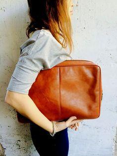b41bf10294 Leather Document Case VIntage Oversized Genuine Leather Clutch Men s Brown  Bag Brand Bag Brown leather bag PIERRE CARDIN
